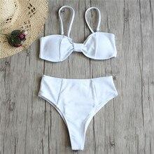 Sexy Brazilian Bikini Women Solid Swimwear Push Up Swimsuit Thong Bikinis Bow Biquini White Bathing Suit High Waist Bottoms