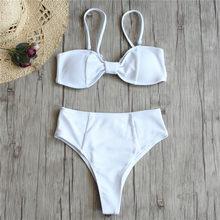 ba4a39ec01 Sexy Brazilian Bikini Women Solid Swimwear Push Up Swimsuit Thong Bikinis  Bow Biquini White Bathing Suit High Waist Bottoms