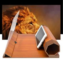 "12"" Wooden Folding Mobile Phone Screen Magnifier HD Video Amplifier Holder Stand(China)"