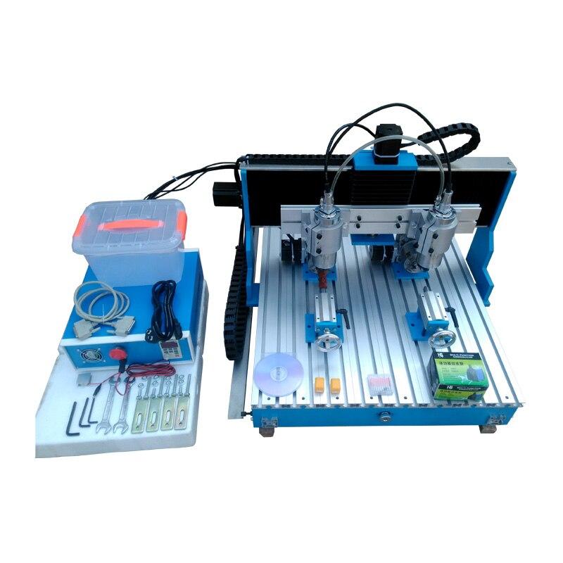 Dos YOOCNC 1500 W doble husillo de madera cnc enrutador 6090 grabador de metal cnc fresadora con carril guía lineal