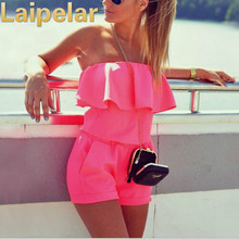Laipelar Women Beach Jumpsuit 2018 Summer Fashion Casual Ruffles Strapless Waist Tightening Candy Color Womens