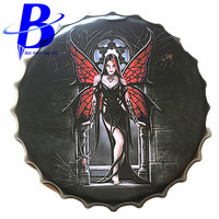 40cm Dream Girl Chic Round Vintage Metal Signs Bar Coffee Shop Wall Decor Beer Bottle Cap