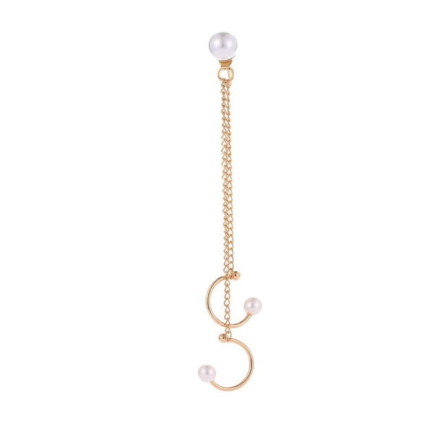 Women's Ear Cuff with Double Chain and Pearls