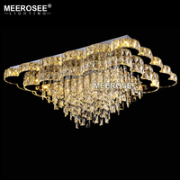 Luxurious Crystal Ceiling Lamp Rectangle LED Crystals Lustres Lighting for Villa Hotel Restaurant Indoor Luminaire