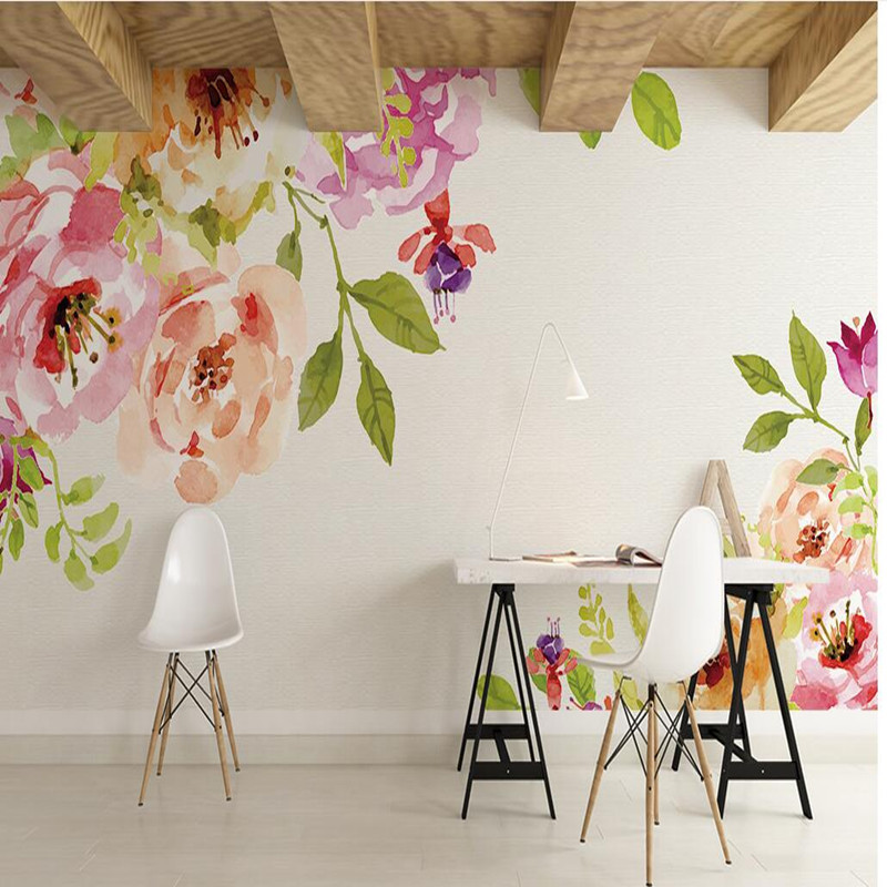 Custom Wall Mural Wallpaper 3D Beautiful Hand-painted Flowers Photo Wall Murals for Living Room 3D Wall Background Wallpaper 3D wdbh custom mural 3d photo wallpaper gym sexy black and white photo tv background wall 3d wall murals wallpaper for living room