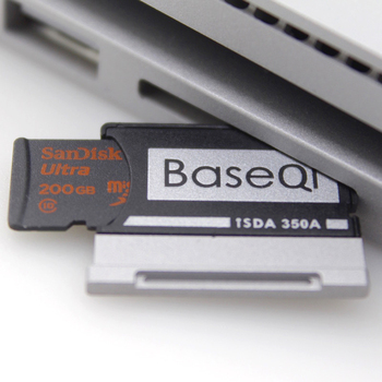 BaseQi Aluminum MicroSD to SD Memory Card Adapter Stealth drive Card Reader For Microsoft Surface Book 13