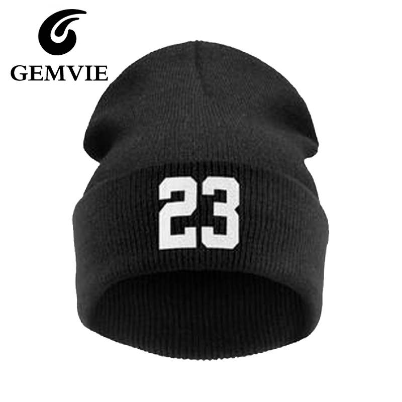 Women and Mens Winter Cap Black Punk Numbers 23 Knitted Beanie Hat 2016 Autumn Knitting Wool Skullies Beanies 3 Colors gift children knitting wool hat red flower beanie cap autumn and winter hat with earflaps cn post