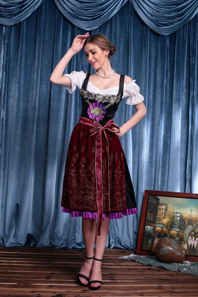 Women German Oktoberfest Bavarian Dirndl Beer Girl Cosplay Fancy Dresses Alpine Costume