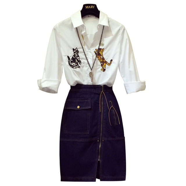 2019 Spring Women's Fashion Cat Embroidery Long Sleeve White Shirt + Blue Denim Skirt Two Pieces Ladies Girls Jeans Skirt Suits