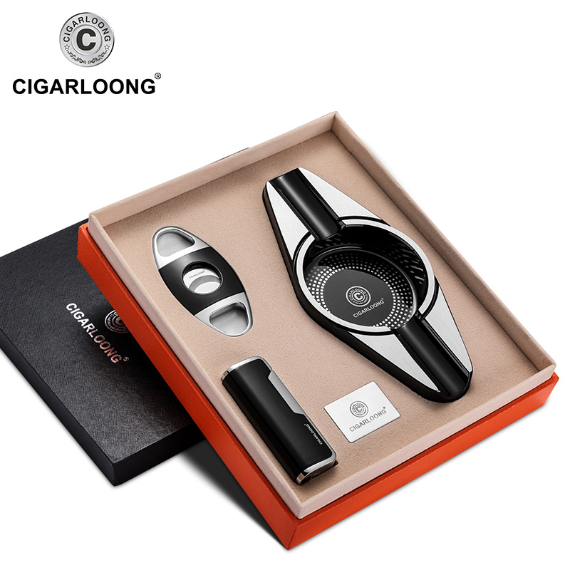 CIGARLOONG cigar ashtray three pieces set  stainless steel cigar lighter cigar cutter CQ-0127