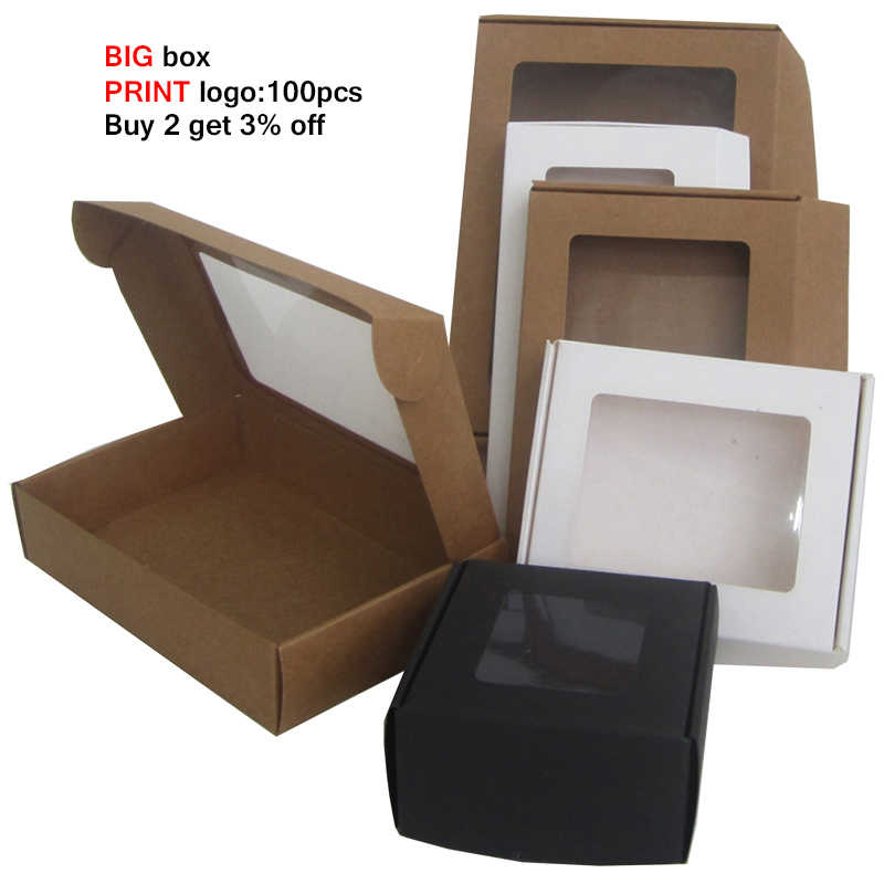 20pcs Black Big Gift Box Packaging Custom Box Transparent Pvc Window Large Gift Paper Boxes Paper Cardboard Box For Packaging