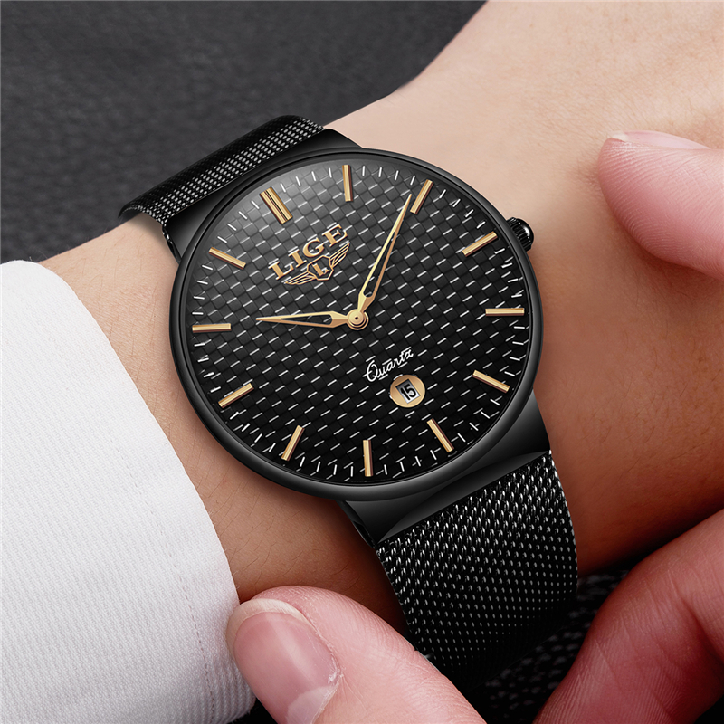 LIGE Fashion Mens Watch Top Brand Luxury Ultra Thin Quartz Watches Men Steel Mesh Strap Waterproof Sport Watch Relogio Masculino wwoor brand luxury mens watches waterproof ultra thin date clock male steel mesh silver sport men quartz watch relogio masculino