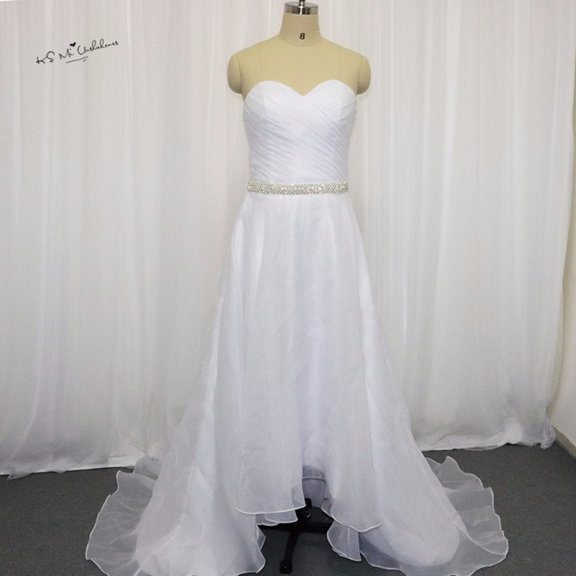 2017 Country Style White Cheap High Low Wedding Dresses Crystal Belt ...