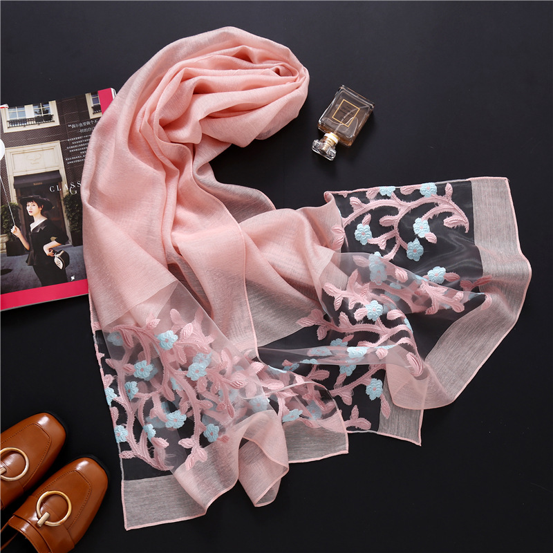 designer 2019 summer women   scarf   fashion floral silk   scarves   lady shawls and   wraps   pashmina Hollow foulard long beach stoles