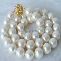 Women jewelry wholesale cheap high quality new fashion moving Beautiful 10-11MM White Pearl Necklace Christmas gifts AAA+ W0040