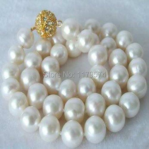 Joyería de las mujeres al por mayor barato de la alta calidad de la nueva manera movimiento envío libre Hermoso! 10-11 MM Blanco Collar de Perlas AAA + W0040