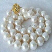 Mulheres de jóias por atacado barata de alta qualidade de moda de nova movimento Belas 10-11 MM Branco Pérola Colar de presentes de Natal AAA + W0040