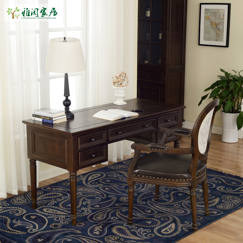 Affordable Retro Furniture: Table Cheap American Country Wood Desk Study Brain Writing