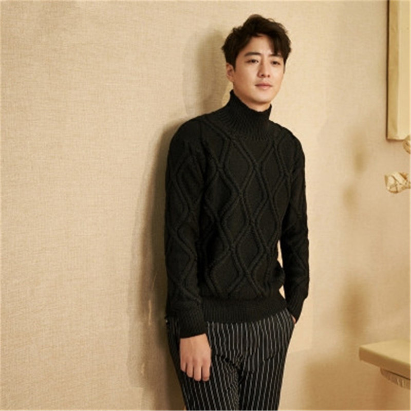 100% Hand Made Pure Wool Turtleneck Knit Men Korean Style Solid H-straight Slim Thick Pullover Sweater One&over Size