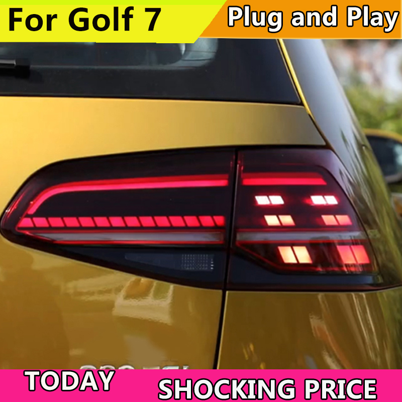 Car Styling Tail Lamp For Volkswagen VW Golf 7 MK7 2013 2016 LED TailLight Rear Light LED Brake+Park+Moving Turn Signal Lamp