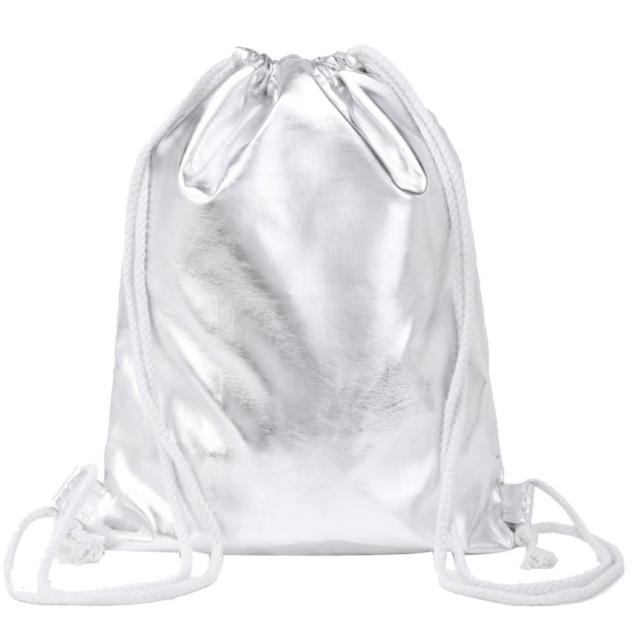 d8c7580a8a Women Fashion Solid Silver Drawstring Backpack White Softback Shopping Bag  Travel Bag Package DropShipping Wholesale  T