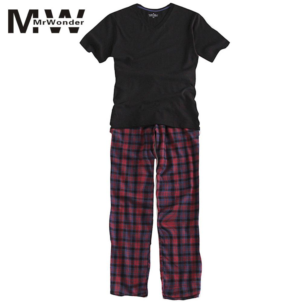 mrwonder Men's Pajamas Summer Long Sleeve Home Wear Thin Cotton Plaid Pyjamas Men Lounge Pajama Sets Plus Size Sleep Wear SAN0