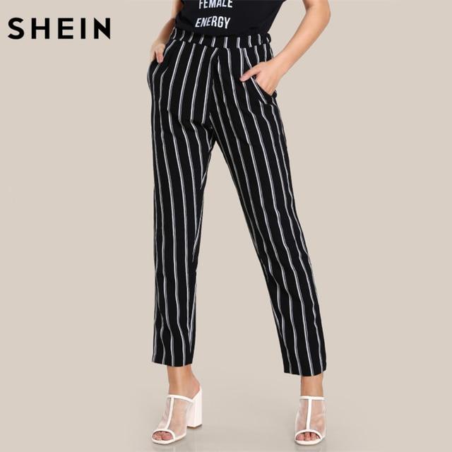 9c8149c373 SHEIN Elastic Waist Striped High Rise Peg Pants Pocket High Waisted Pants  Black and White Zipper