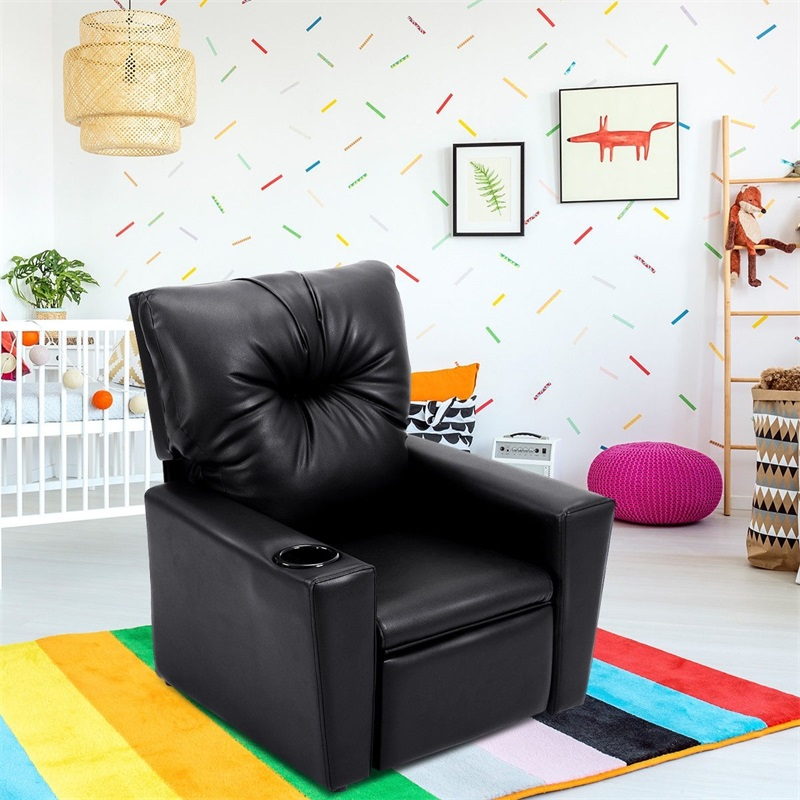 Ergonomic Recliner Lounge Children's Sofa Chair For Kids With Cup Holder Bedroom Living Room Furniture HW54197