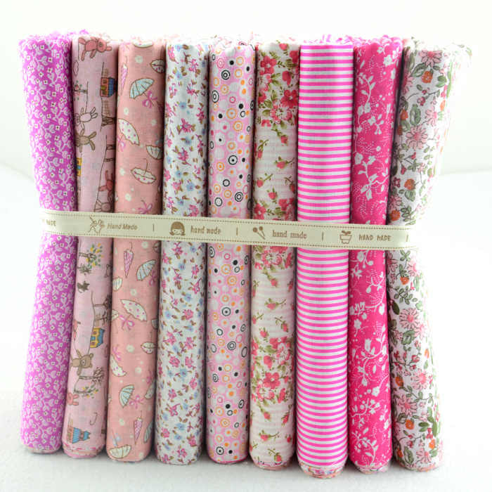 "50CMx50CM 9 Designs Assorted ""Cute Pink"" Cotton Fabric Fat Quaters Tilda cloth Quilting  scrapbooking Patchwork Fabric W3B5-1"