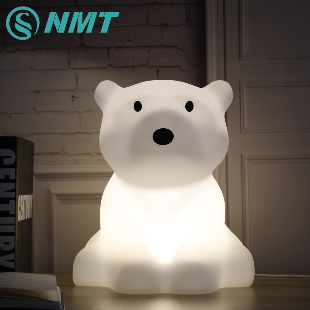 Polar Bear LED Night Light Swivel Dimmable Warm White Baby Led Desk Lamp 30CM EU US Plug Led Night Lamp for Kid's Gift