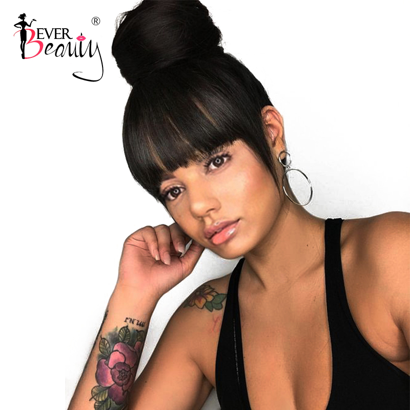 360 Lace Frontal Paryk Pre Plucked With Baby Hair Brasilian Silky Straight Lace Front Human Hair Parykker Med Bangs Ever Beauty Beauty