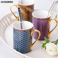 OUSSIRRO Bone China Mug Luxury Drinking Cup Couple Gift Nordic Coffee Mug Mr and Mrs Tea Milk Cup and Mugs Creative Wedding Gift