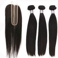 2x6 закрытия шнурка с Пряди человеческих волос для наращивания Реми шелковистые прямые натуральные волосы пучки с закрытием кружева 3 уток