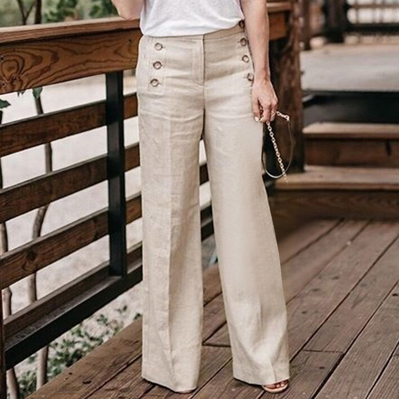 Women's Cotton And Linen   Pants   Solid Color Casual Waist   Wide     Leg     Pants