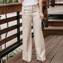Women's Cotton And Linen Pants Solid Color Casual Waist Wide