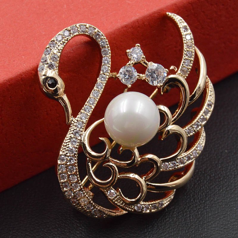 AAA Cubic Zirconia Swan Brooches for Women Cute Animal Brooch Pin Dress Coat Acessories Fashion Jewelry Bijouterie