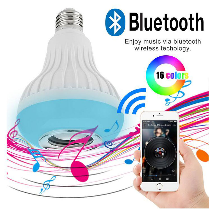 E27 Smart RGB RGBW Wireless Bluetooth Speaker Bulb Music Playing Dimmable LED Bulb Light Lamp with 24 Keys Remote Controller smuxi e27 led rgb wireless bluetooth speaker music smart light bulb 15w playing lamp remote control decor for ios android