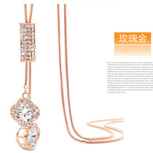 High Quality Square Beads Cube Crystal from Swarovski Elements Rose Gold Women Necklace Pendants Jewelry Fashion Chain Female Gi