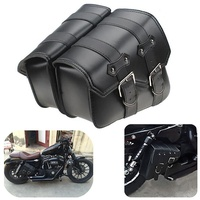 2pcs Motorcycle Leather Side Saddle Bags For Harley Sportster XL883/1200 Black
