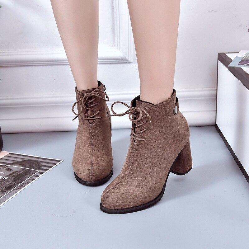 b1f0002ee90 Chaussures marron Carré 34 Talons Femmes Bottes Zips D hiver Cheville  Orteils Boot Cuir 40 Patchwork Lady Épais Suédé Robe Femme Taille Noir  t7qRww