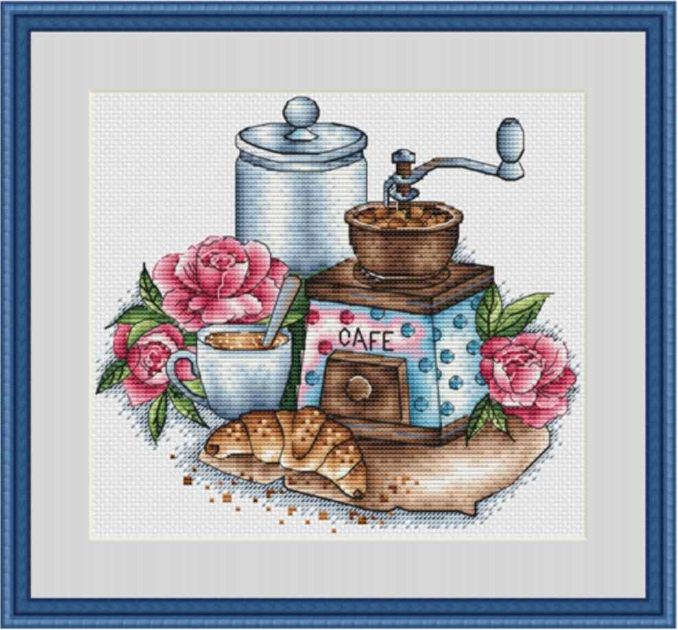 Rose and coffee cross stitch package flower 18ct 14ct 11ct cloth cotton thread embroidery DIY handmade needlework