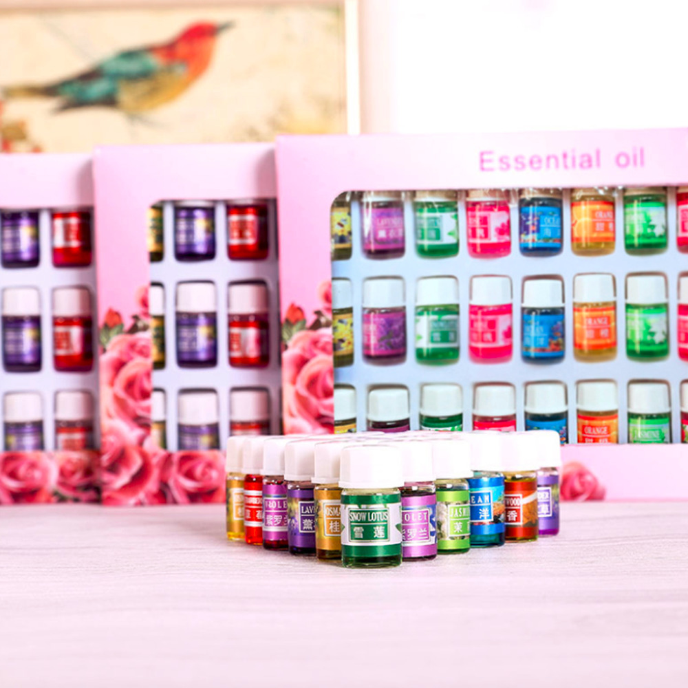 36 PCS/Set 3 Ml 12 Kinds Natural Plants Aromatic Fragrance Essential Oil Water-soluble Flavor Oil Spa Massage Bath Aromatherapy