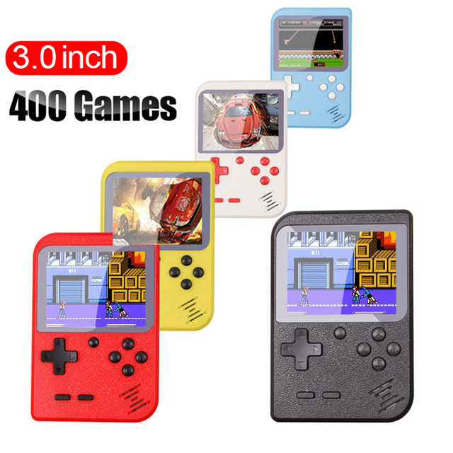 VOERO RS-6 A Retro Portable Mini Handheld Game Console 8-Bit 3.0 Inch Color LCD Kids Color Video Game Player Built-in 400 games