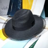 GGOMU Hot sale Summer Fashion straw hat woman 2017 Retro Net Yarn wide brim straw hat Foldable beach Casual sun hat gril ZLH-039