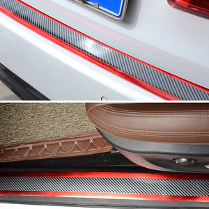 Image 4 - Car Stickers Styling 5D Carbon Fiber Rubber Door Vinyl Sill Protector Goods Bumper Decorative Strip For KIA Ford etc Accessories