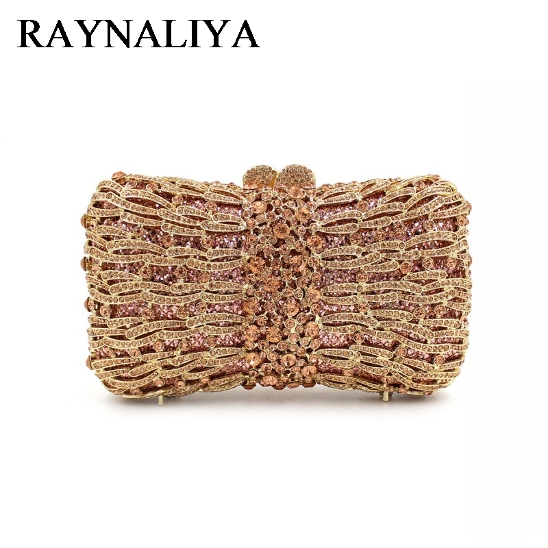 Gold Wedding Brides Dress Crystal Box Evening Bag Flower Diamond Prom Party Clutch Purse Women Handbag Bags ZH-A0051