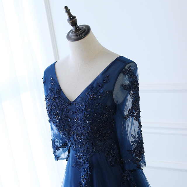Hot Long Evening Dress Dark Blue Lace Embroidery 3/4 Sleeved Banquet Mother Of The Bride Dresses Robe De Soiree 3