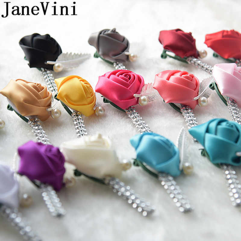 JaneVini Flower Lapel Pin Mens Wedding Boutonniere Crystal Satin Rose Wedding Brooch Buttonhole Grooms Boutonnieres Custom Made
