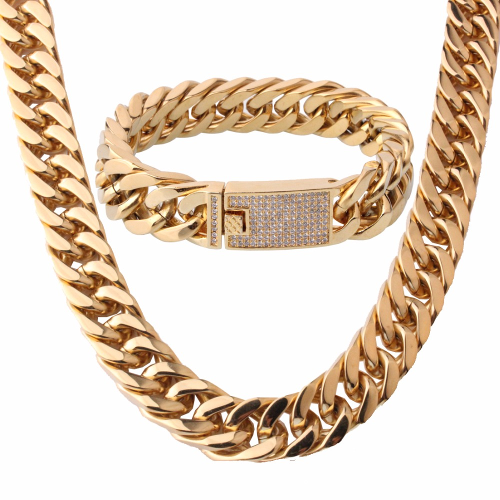 15mm Gold Clear Stone 316L Stainless Steel Buckle Miami Curb Cuban Link Chain Bracelet&Necklace Men's Jewelry Set 18 32 Length