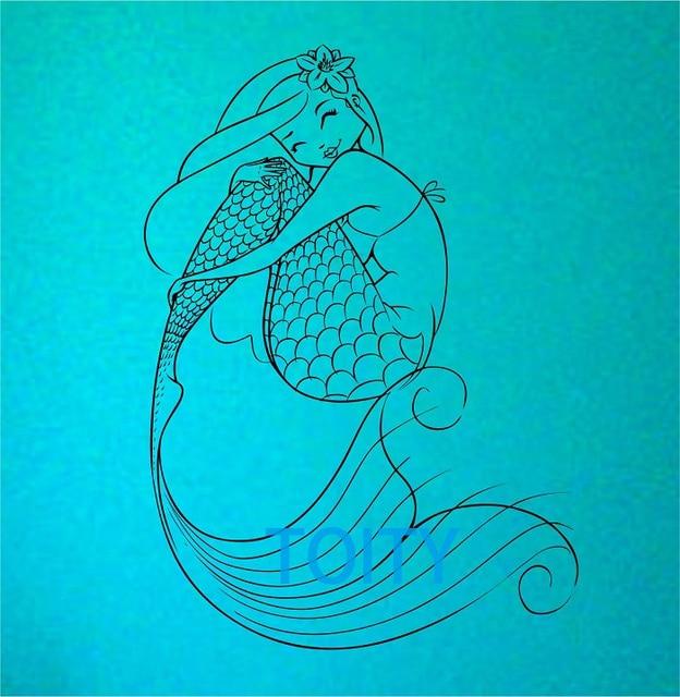 Sirena etiqueta de la pared decoración arte diseño dormitorio mural ...